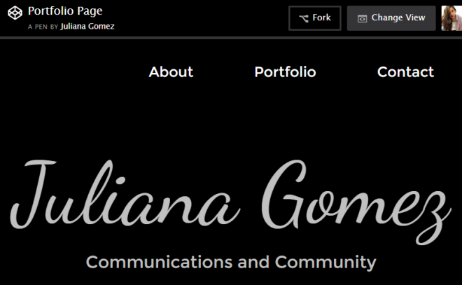 screenshot of portfolio page