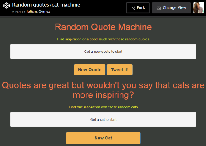 screenshot of quotes cats machine