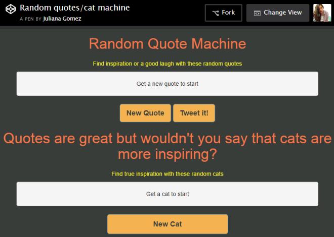 screenshot of quotes cats machine